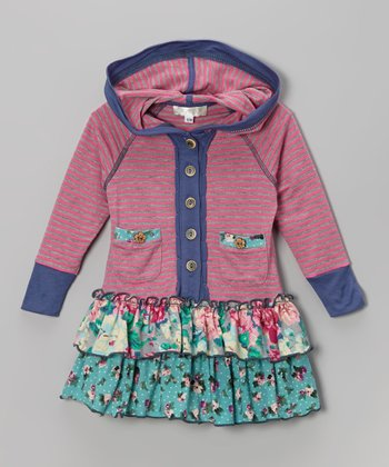 Pink Stripe Floral Hooded Dress - Toddler & Girls