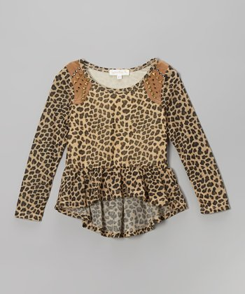 Taupe Leopard Peplum Top - Infant, Toddler & Girls