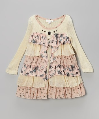 Ivory & Pink Tiered Ruffle Dress - Infant, Toddler & Girls