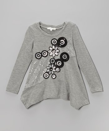 Gray Sequin Appliqué Tunic - Toddler