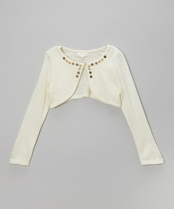 Off White Stud Bolero - Infant, Toddler & Girls
