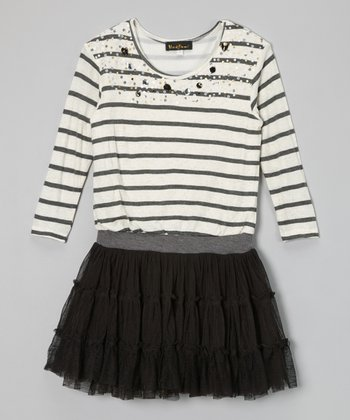 Black & White Sequin Stripe Ruffle Dress - Girls