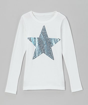 White & Blue Sequin Star Tee - Toddler & Girls