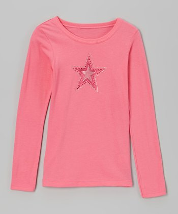 Hot Pink Rhinestone Star Tee - Toddler & Girls