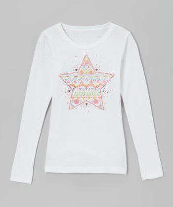 White & Orange Rhinestone Star Tee - Toddler & Girls