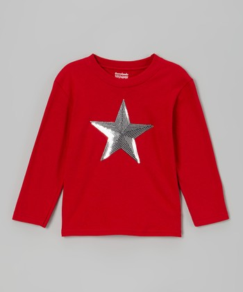 Red & Silver Sequin Star Tee - Toddler & Girls