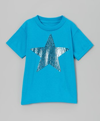 Turquoise & Silver Sequin Star Tee - Toddler & Girls