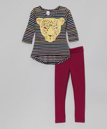 Gray & Pink Stripe Leopard Hi-Low Top & Leggings - Girls