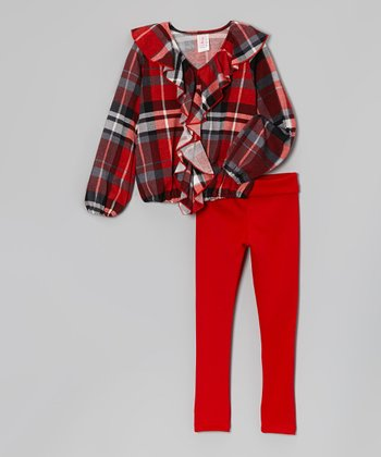 Red Plaid Ruffle Top & Leggings - Toddler & Girls