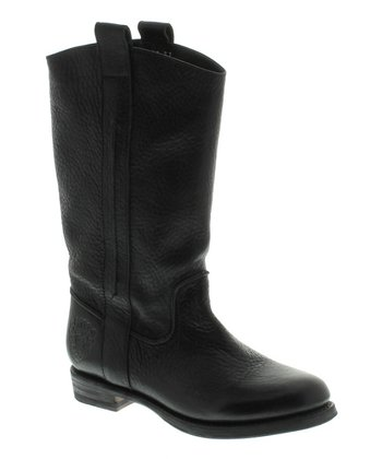 Black Leather Mid-calf Boot