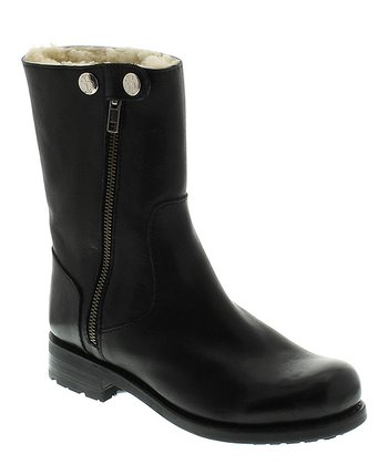 Black Leather Asymmetrical Zipper Boot