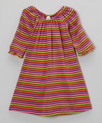 Purple & Green Stripe Swing Dress - Toddler & Girls