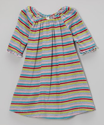 Pink & Blue Stripe Swing Dress - Toddler & Girls