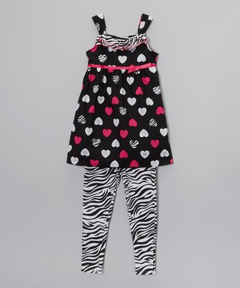 Black & Pink Heart Dress & Zebra Leggings - Girls