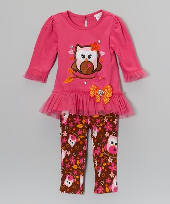 Pink & Brown Owl Tutu Dress & Leggings - Toddler & Girls