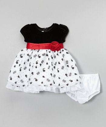 Black & White Flower Tulle Dress & Diaper Cover - Infant