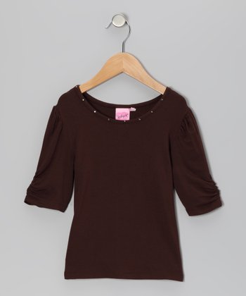Brown Glam Lace Tee - Girls