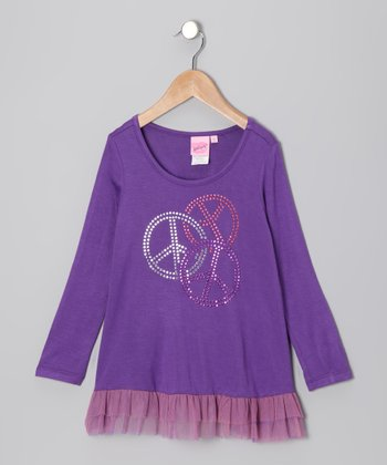 Purple Sequin Swirl Peace Tunic - Girls