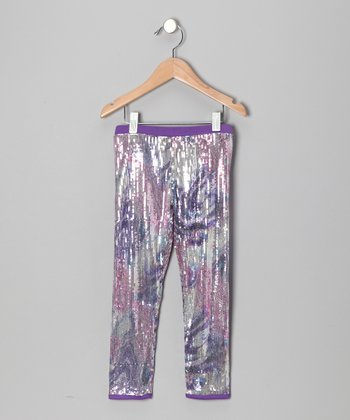 Purple Sequin Swirl Leggings - Toddler & Girls