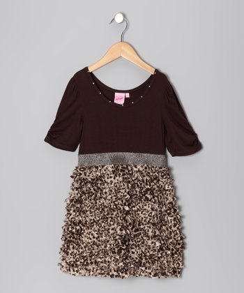 Brown Glam Lace Ruffle Dress - Girls