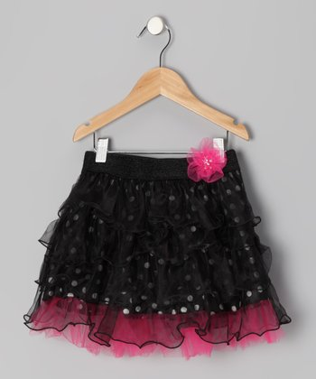 Black Crazy Polka Dot Ruffle Skirt - Toddler & Girls