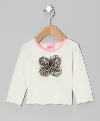 White Baby Leopard Daisy Tee - Infant & Toddler