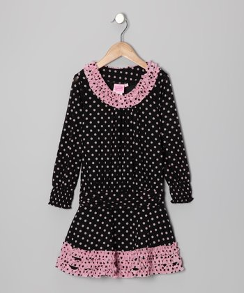 Black Polka Dot Dress - Toddler & Girls