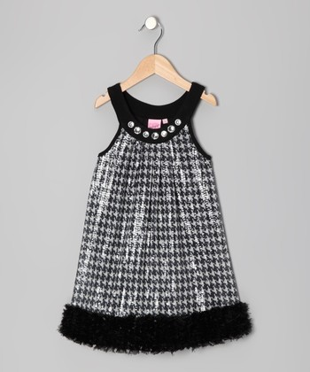 Black Miss Coco Yoke Dress - Girls