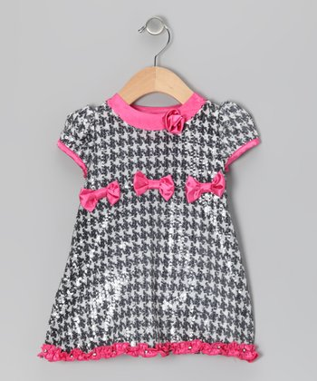 Pink & Black Houndstooth Dress	 - Infant & Toddler