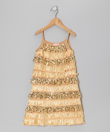 Golden Girl Tiered Ruffle Dress - Toddler