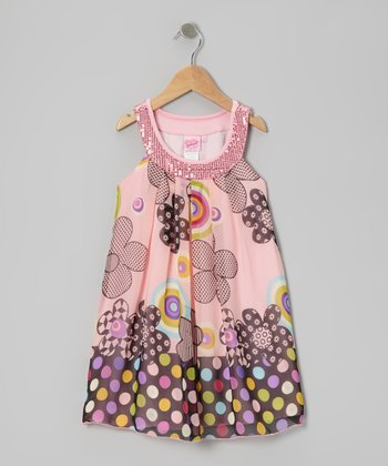 Pink Polka Dot Floral Yoke Dress - Toddler