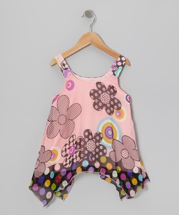 Pink Polka Dot Floral Top - Girls