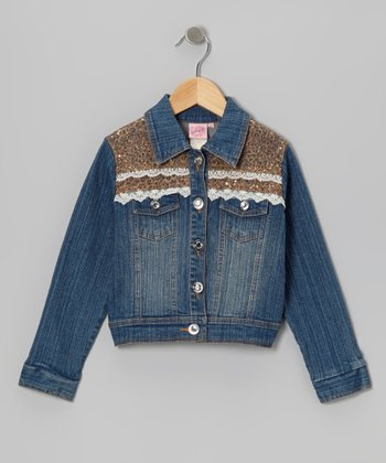 Medium Wash Gold Denim Jacket - Girls
