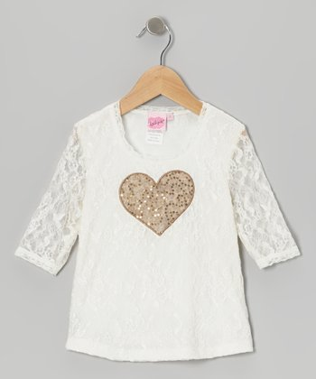 Ivory & Gold Lace Heart Top - Girls