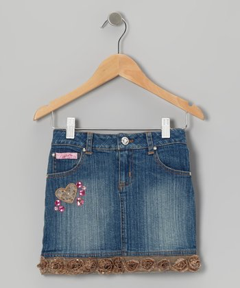 Medium Wash Gold Denim Floral Skirt - Girls
