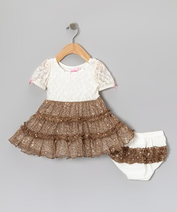 Ivory & Gold Tiered Dress - Infant