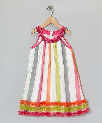Pink & White Stripe Yoke Dress - Girls
