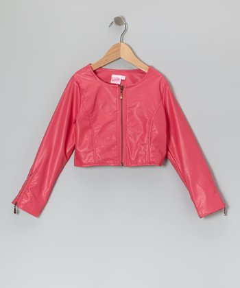 Pink Crop Zip-up Jacket - Girls