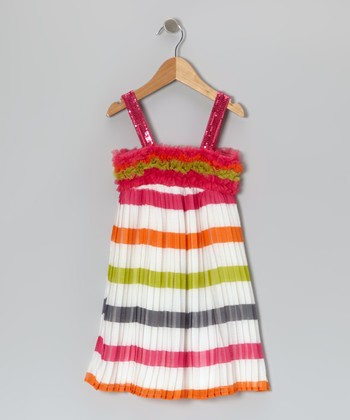 Pink & White Stripe Babydoll Dress - Toddler