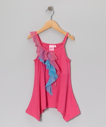 Pink & Blue Sidetail Tank - Toddler & Girls