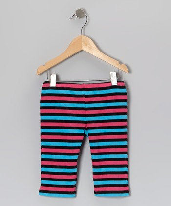 Blue & Pink Stripe Leggings - Girls