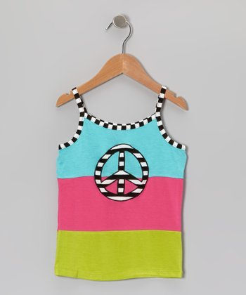 Blue & Pink Stripe Peace Tank - Toddler & Girls