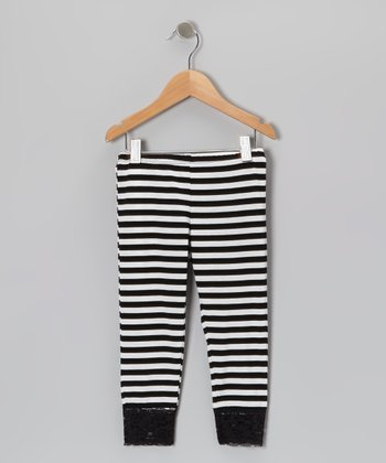 Black & White Stripe Leggings - Girls