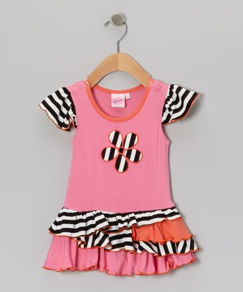 Pink & Black Daisy Stripe Dress - Infant