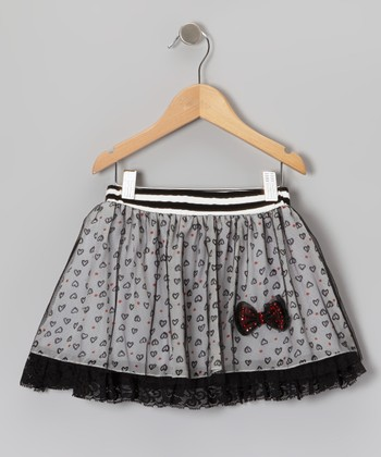 Black & White Heart Chiffon Skirt - Toddler & Girls