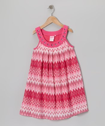 Pink & White Zigzag Yoke Dress - Toddler & Girls