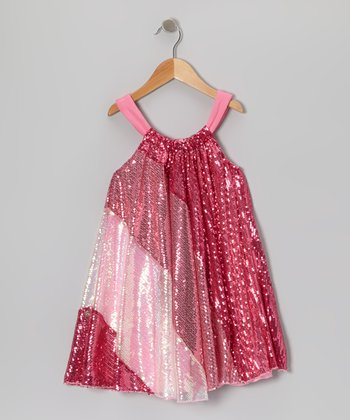 Pink Sequin Stripe Dress - Toddler & Girls