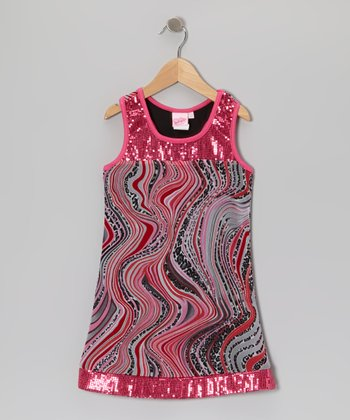 Pink & Black Sequin Babydoll Dress - Girls