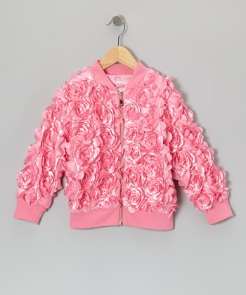 Pink Floral Bomber Jacket - Toddler & Girls