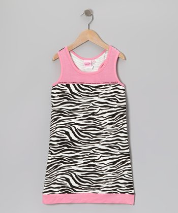 Pink & Black Zebra Babydoll Dress - Toddler & Girls